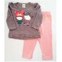 Conjunto camiseta e legging Rosa - NUNCA USADO - Tamanho G - 9 a 12 meses - Planeta pano