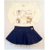 Conjunto de Camiseta e Saia Azul - NUNCA USADO - Tamanho 1 - 1 ano - Planeta pano