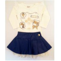 Conjunto de Camiseta e Saia Azul - NUNCA USADO - Tamanho 2 - 2 anos - Planeta pano