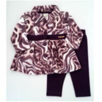 Conjunto Casaco de Fleece e legging roxa - NUNCA USADO - Tamanho G - 9 a 12 meses - Pulla Bulla