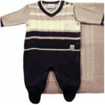 Saída de Maternidade em tricô Marinho e Bege - NUNCA USADO - Recém Nascido - Noruega