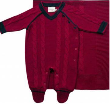 Saída de Maternidade em tricô Vermelho - NUNCA USADO - Recém Nascido - Noruega