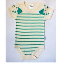 Body Creme listrado em verde - NUNCA USADO - Tamanho P - 3 a 6 meses - Pulla Bulla