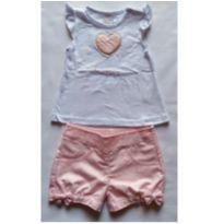 Conjunto de Blusa e Shorts Coração - NUNCA USADO - Tamanho GG - 12 a 18 meses - Planeta pano