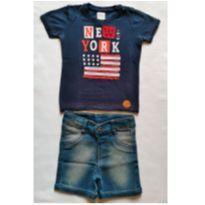 Conjunto Camiseta Marinho New York e Bermuda Jeans - NUNCA USADO - Tamanho G - 9 a 12 meses - Planeta pano