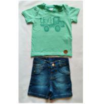 Conjunto Camiseta Verde e Bermuda Jeans - NUNCA USADO - Tamanho GG - 12 a 18 meses - Planeta pano