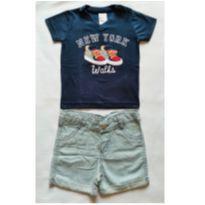 Conjunto Camiseta Marinho e Bermuda listrada - NUNCA USADO - Tamanho G - 9 a 12 meses - Planeta pano