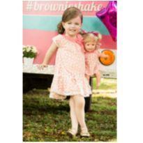 Vestido Rosê com renda Menina e Boneca - NUNCA USADO - Tamanho 1 - 1 ano - Planeta pano