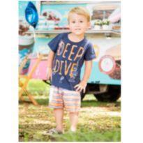 Conjunto Camiseta Azul Marinho e Bermuda Laranja - NUNCA USADO - Tamanho 2 - 2 anos - Planeta pano