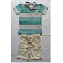 Conjunto Camiseta Polo Verde e Cinza e Bermuda - NUNCA USADO - Tamanho 3 - 3 anos - Planeta pano
