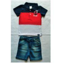 Conjunto Camiseta Polo e Bermuda Jeans - NUNCA USADO - Tamanho 3 - 3 anos - Planeta pano