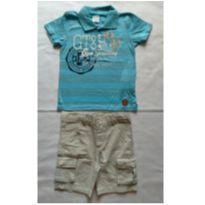 Conjunto Camiseta Polo Azul Claro e Bermuda - NUNCA USADO - Tamanho 2 - 2 anos - Planeta pano