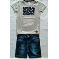 Conjunto Camiseta Cinza e Bermuda Jeans - NUNCA USADO - Tamanho 2 - 2 anos - Planeta pano