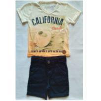 Conjunto Camiseta Califórnia Beach e Bermuda - NUNCA USADO - Tamanho 2 - 2 anos - Planeta pano