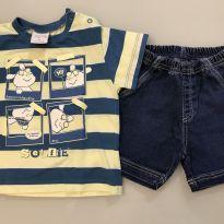 conjunto bebê com bermuda jeans - 9 meses - Tilly Baby