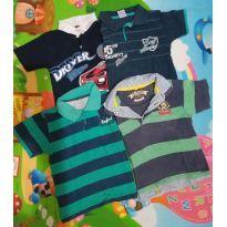 kit com 4 blusas polo fofas - 2 anos - Variadas