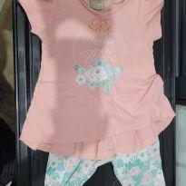Conjunto de blusa e calça rosa e azul - 2 anos - Milon