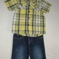 Lindo conjunto de camisa xadrez e bermuda jeans - Marisol - Tamanho 3 - 3 anos - Marisol