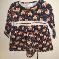 Vestido manga longa azul marinho com estapas de raposinhas! Fofo! - 6 a 9 meses - Pulla Bulla