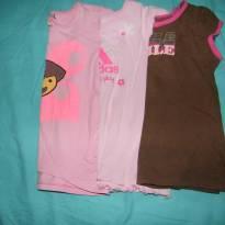 Kit com 3 blusinhas baby look - 4 anos - Adidas e Circo