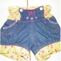 Short jeans com tecido florido - 4 anos - Não informada