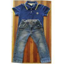 Conjunto de calça jeans e camiseta gola polo - 3 anos - Milon e D.viller