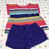 Conjunto camiseta manga curta soltinha + Short Roxo Carter´s - 9 meses - Carter`s