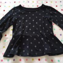 Camiseta-vestido manga longa preta Carter´s - 3 anos - Carter`s