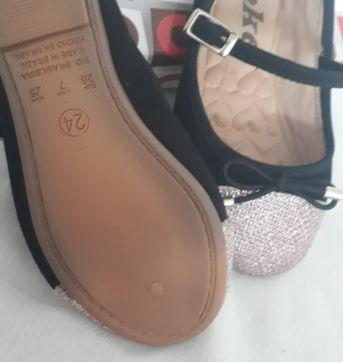 Sapato com brilho rosa na ponta - 24 - Toke