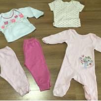 Kit com body e calças para princesas de 03 à 06 meses - 3 a 6 meses - Diversas