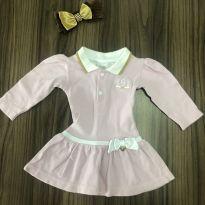 Vestido Rosa Gola Polo - 0 a 3 meses - ZigMundi