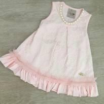Vestido Kiki Xodó rosa com renda- Tamanho 1 - usado 1 x - 1 ano - Kiki Xodó