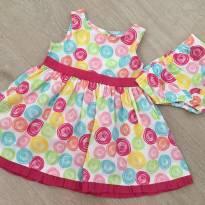 Vestido de tecido colorido com calcinha - Sweet tam. 18 meses - 18 meses - Sweet