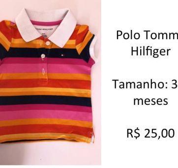 Polo Feminina Tommy Hilfiger - 3 a 6 meses - Tommy Hilfiger