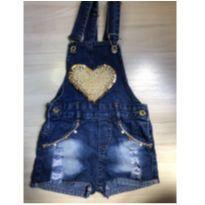 Jardineira Jeans com Bordado Dourado - 12 a 18 meses - Não informada