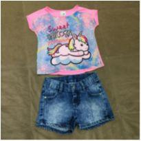 Conjunto camiseta unicornio e shorts - 3 anos - Malwee