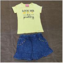 Conjunto camiseta e saia jeans - 3 anos - Le Petit