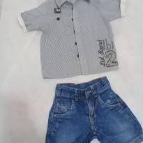 Look bermudinha +camisa tamanho 1 - 12 a 18 meses - Infantilândia e Deep for Kids