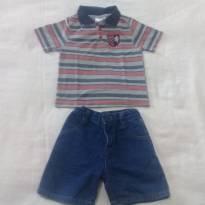 Polo Carters e bermudinha jeans com regulagem - 2 anos - Carters - Sem etiqueta
