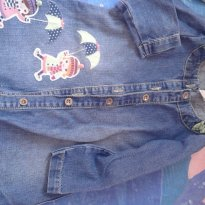 Lindo vestido jeans com bonequinhas de sombrinha - 2 anos - Alphabeto