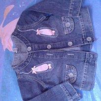 Jaqueta Jeans Aphabeto com sapatilhas de bailarina aplicadas - 1 ano - Alphabeto