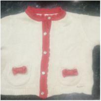 Casaco de  lã infantil bege/ vermelha - 6 a 9 meses - Mini&ninha Mini&ninho