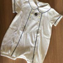Macaquinho Romper em Malha Pima Cotton Branco - Ralph Lauren - Tam 9 Meses - 6 a 9 meses - Ralph Lauren