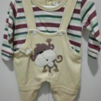 Macacão listrado - 0 a 3 meses - Kiguri baby