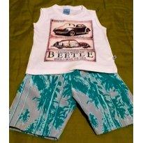 Conjunto Masculino Regata Estampada Shorts Tactel - 1 ano - Abrange