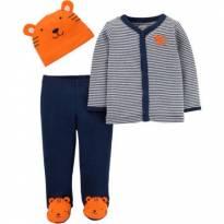 Conjunto com Camiseta Cinza Listrada, Calça Azul e Gorrinho Laranja Ursinho - 3 meses - Child of Mine