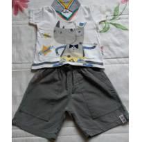 Conjunto Zig Zig Zaa Camiseta Rinoceronte e Bermuda - 1 ano - Zig Zig Zaa