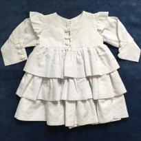 Vestido Branco Babados - 3 a 6 meses - Fofinho