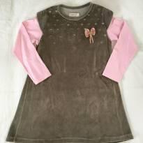 Vestido Marrom e Rosa - Carinhoso - 6 anos - Carinhoso