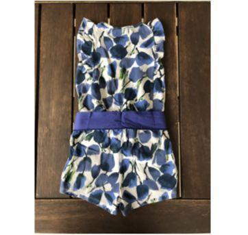 Macaquinho Floral Azul - 2 anos - Boca Grande
